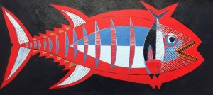 TUNA  |  13.5 x 30  |  Acrylic on canvas  |  15.5 x 32  Framed  |  $850