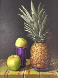 TWO APPLES AND PINEAPPLE  |  Oil on linen  |  16 x 12  |  21.5 x 17.5 Framed  |  $3300