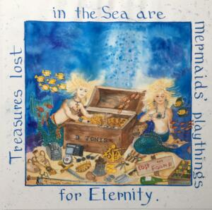 TREASURES IN THE SEA     Water color on paper     27 x 27 Framed     $2500