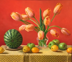TULIPS AND WATERMELON  | 20 x 24 |  Oil on Linen | $5500