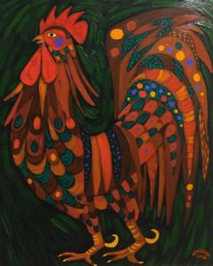 TUSCAN ROOSTER  |  Oil on canvas    |  24 x 20    | 26.5 x 22.5 Framed    |  $2300