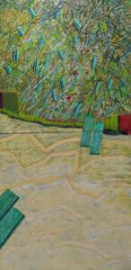 UNMARKED PATHWAYS  |  48 x 24  | Wax and oil on wood panel   |  $4000