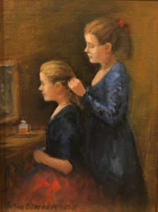 DRESSING FOR THE DANCE  |  Oil on panel  |  7 x 5  |  11.5 x 9.5 Framed  |  $350