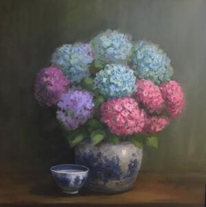 HYDRANGEAS WITH BLUE AND WHITE BOWLS  |  Oil on canvas  |  24 x 4 |  25.5 x 25.5 Framed  |  $2500