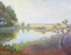 SPIT AT RUSTY MARSH, SUMMER MORNING  |  Oil on board  |  11 x 14  |  17 x 20 Framed  |  $900
